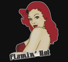 Flamin' Hot Rockabilly Pin Up by Tee Brain Creative