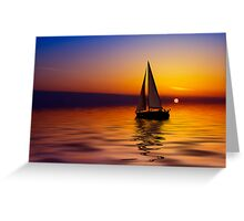 Sailboat against a beautiful sunset Greeting Card