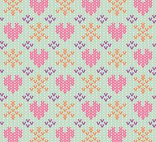Sweet Winter Sweater Pattern - Hearts and Snowflakes by PatternPrint