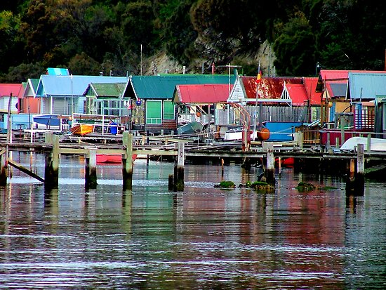 Hobart Fishing Shacks by Bryan Cossart