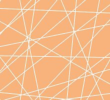 Peach White Abstract Stripes by pencreations