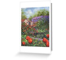 Garden with Tulips and Wisteria Greeting Card