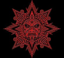 Ancient Red and Black Aztec Sun Mask  by Jeff Bartels