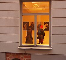 The view of the photo gallery through a window. by miniailov