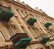 Old house with decorative balconies. by miniailov