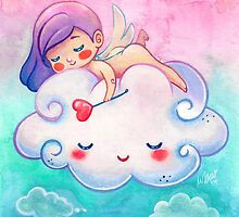 Sleeping Little Angel Cherub & Cloud  by beaglecakes