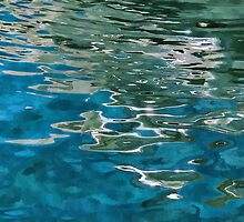 Blue water ripples background by Ron Zmiri