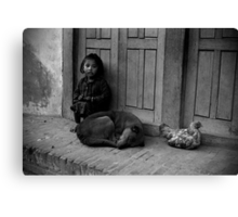 Child, Dog and Chook Canvas Print