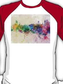 Abu Dhabi skyline in watercolor background T-Shirt