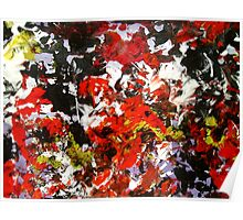 Wild Flower gritty abstract punk red black yellow white floral Poster
