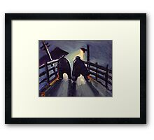 A long night ahead from my original oil pastel and acrylic painting) Framed Print