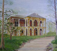 Stonework House on a Hill by Debra Lohrere