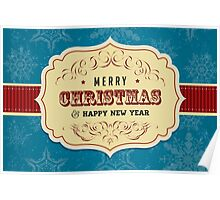Vintage Label Christmas Card - Merry Christmas Poster