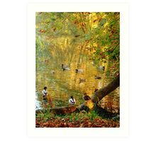 Chatting Ducks Art Print