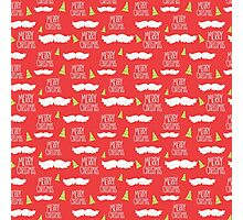 Merry Christmas Mustache Pattern Photographic Print