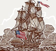 Vintage Page with American Vessel on Seas by aurielaki