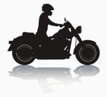 Cruiser Motorcycle Silhouette with Rider & Shadow Kids Clothes