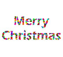 Merry Christmas lights typography rainbow spotty design by 7RayedDesigns
