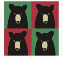BLACK BEAR ON RED & GREEN Kids Clothes