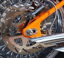 The Motorcycle as Art: Harley-Davidson Chrome and Orange by John Schneider