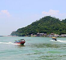 Crossing Boats - Hong Kong. by Tiffany Lenoir