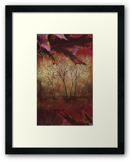 Fall Trees at the Cabin Fine Art Painting by William Martin
