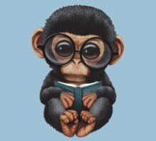 Cute Baby Chimpanzee Reading a Book on Blue Kids Clothes