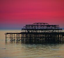 Sunset over Brighton Pier by Dmarie Frankulin
