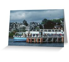 Tourist boat at wharf Bowness Lake District England 198405210008 Greeting Card
