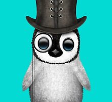 Cute Baby Penguin with Monocle and Top Hat on Blue by Jeff Bartels