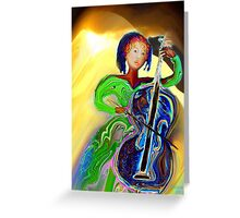 The Passionate  Cello Player Greeting Card