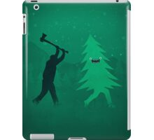 Funny Cartoon Christmas tree is chased by Lumberjack / Run Forrest, Run! iPad Case/Skin