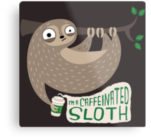 Caffeinated Sloth Metal Print
