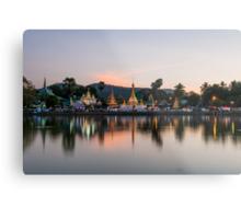 Reflection of Wat Chong Kham at dusk Metal Print