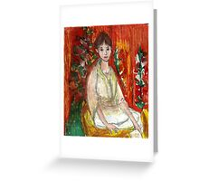 Lady In Front Of Decorated Screen Greeting Card