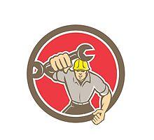 Mechanic Spanner Wrench Running Circle Retro by patrimonio