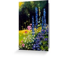 Delphiniums and cosmos  Greeting Card