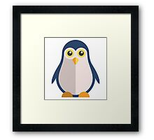 Cute cartoon penguin standing Framed Print