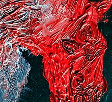Oil on canvas Horse in red by PhotoStock-Isra