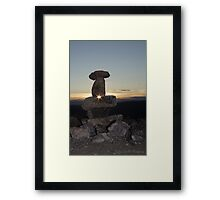 Midnight-Sun Through Inukshuk Framed Print