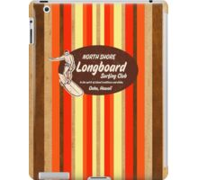 Pipeline Striped Hawaiian Faux Wood Surfboard - Orange and Yellow iPad Case/Skin