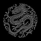 Traditional Dark Chinese Dragon Circle by Jeff Bartels