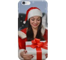Christmas girl with gift iPhone Case/Skin