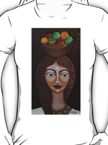 Big-eyed woman with fruits T-Shirt
