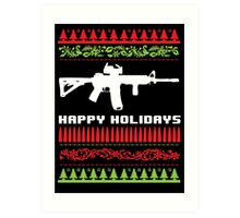 Funny AR-15 Ugly Christmas Sweater T-Shirt and Gifts Art Print