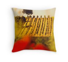 the vineyard on the hill behind the poppy field Throw Pillow