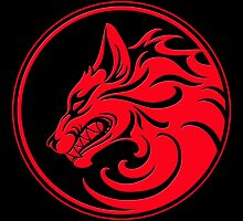 Growling Red and Black Wolf Circle by Jeff Bartels