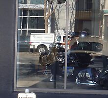 Reflections of Harley Riders on a San Francisco PCH1 by Marielle O'Brien