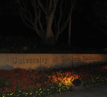 USC Campus Sign at night by cfam