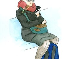 Woman on the Train with iPhone by PersonalGenius
